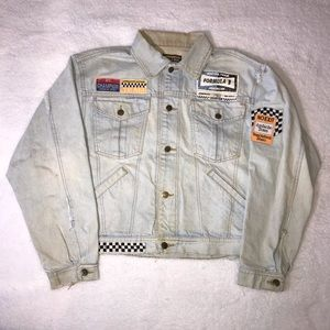 Vintage Jordache Denim Jean Jacket Patches Racing